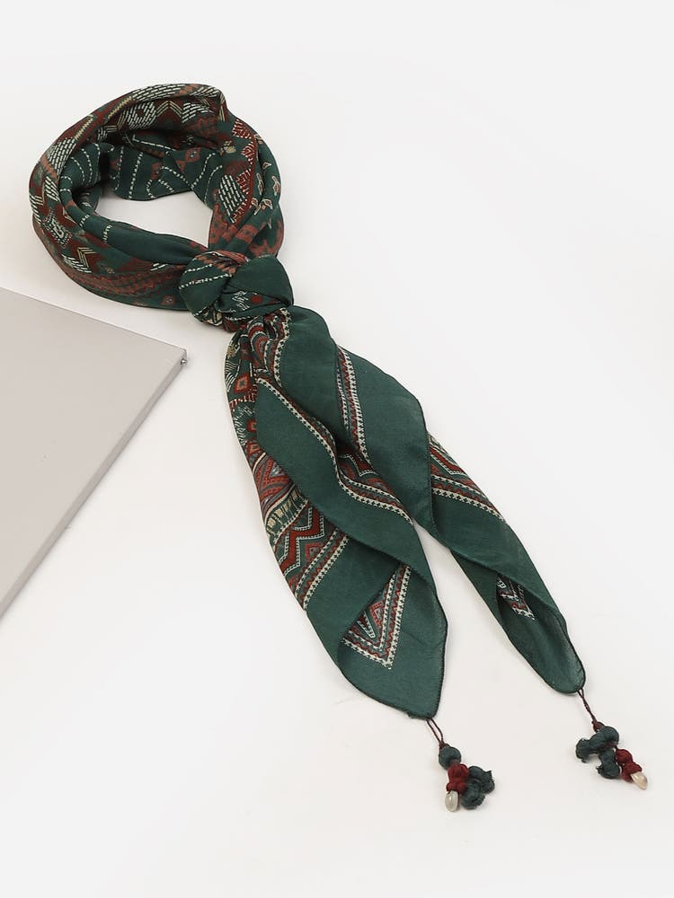 Emerald Green Silk Printed Scarf