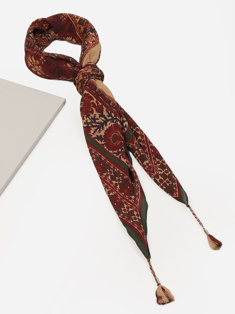Red & Ecru Printed Silk Scarf