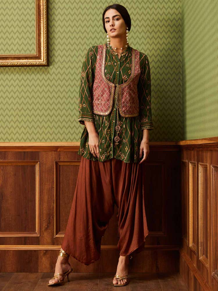 Green & Rust Embroidered Ensemble