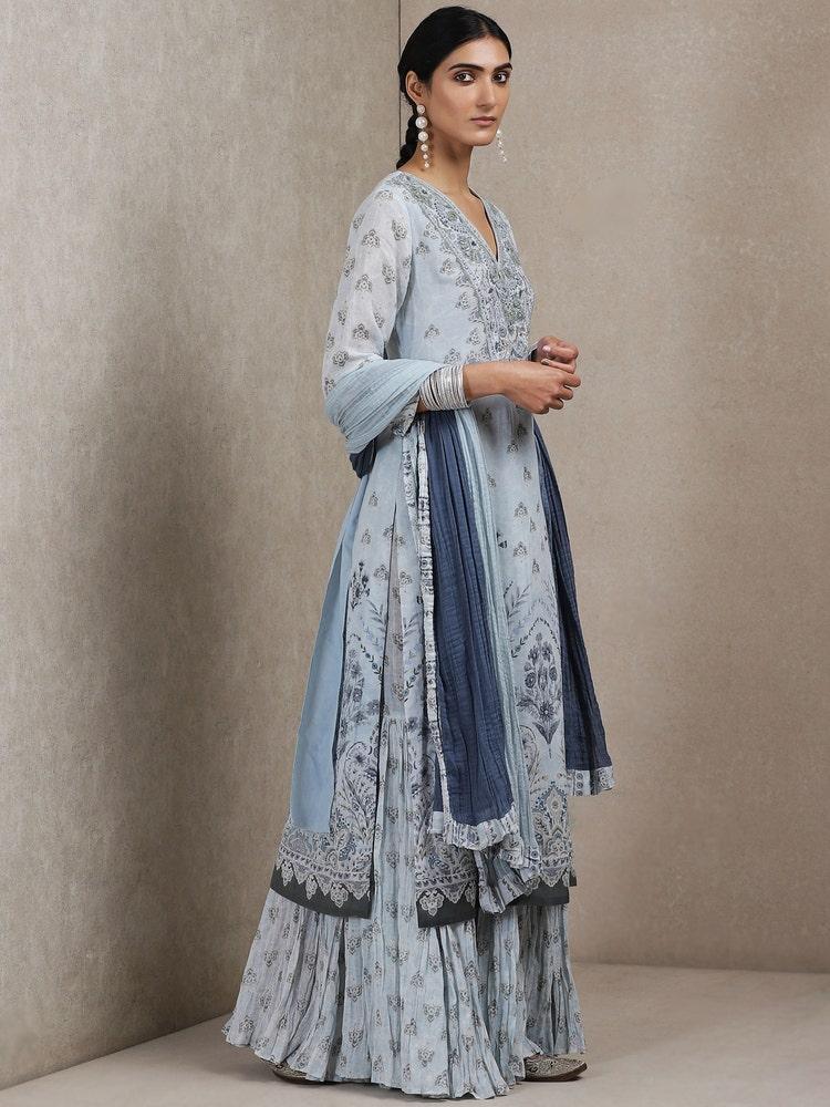 Powder Blue Floral Print Suit Set