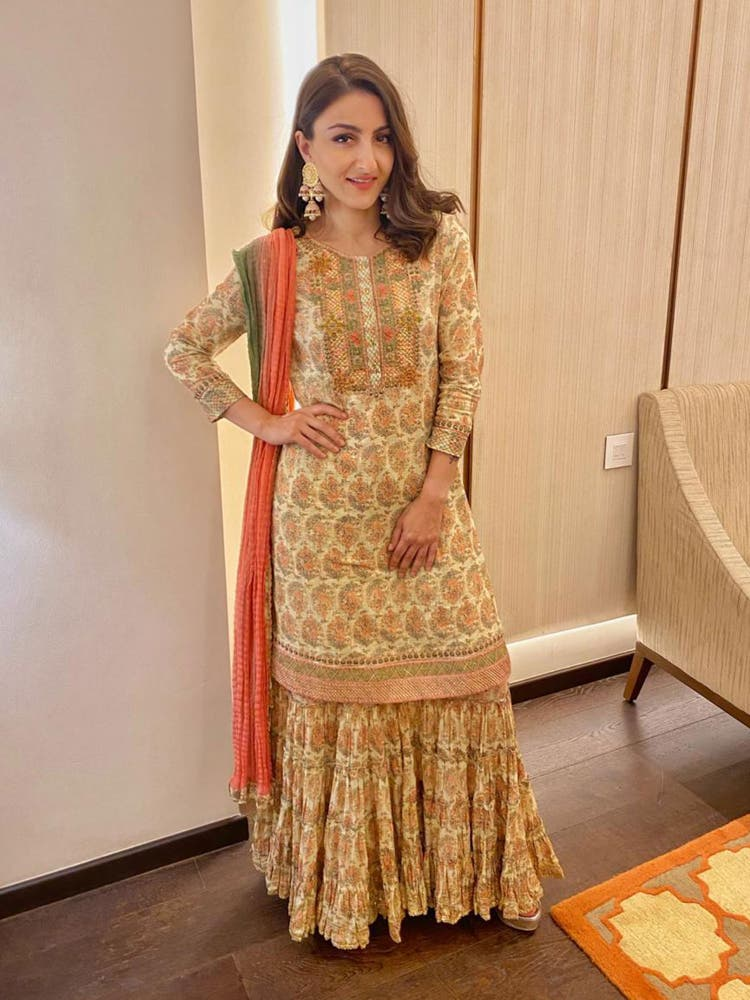 Soha Ali Khan in an Ecru Embroidered Suit Set