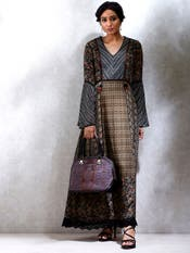 Black & Brown Multi-Print Dress