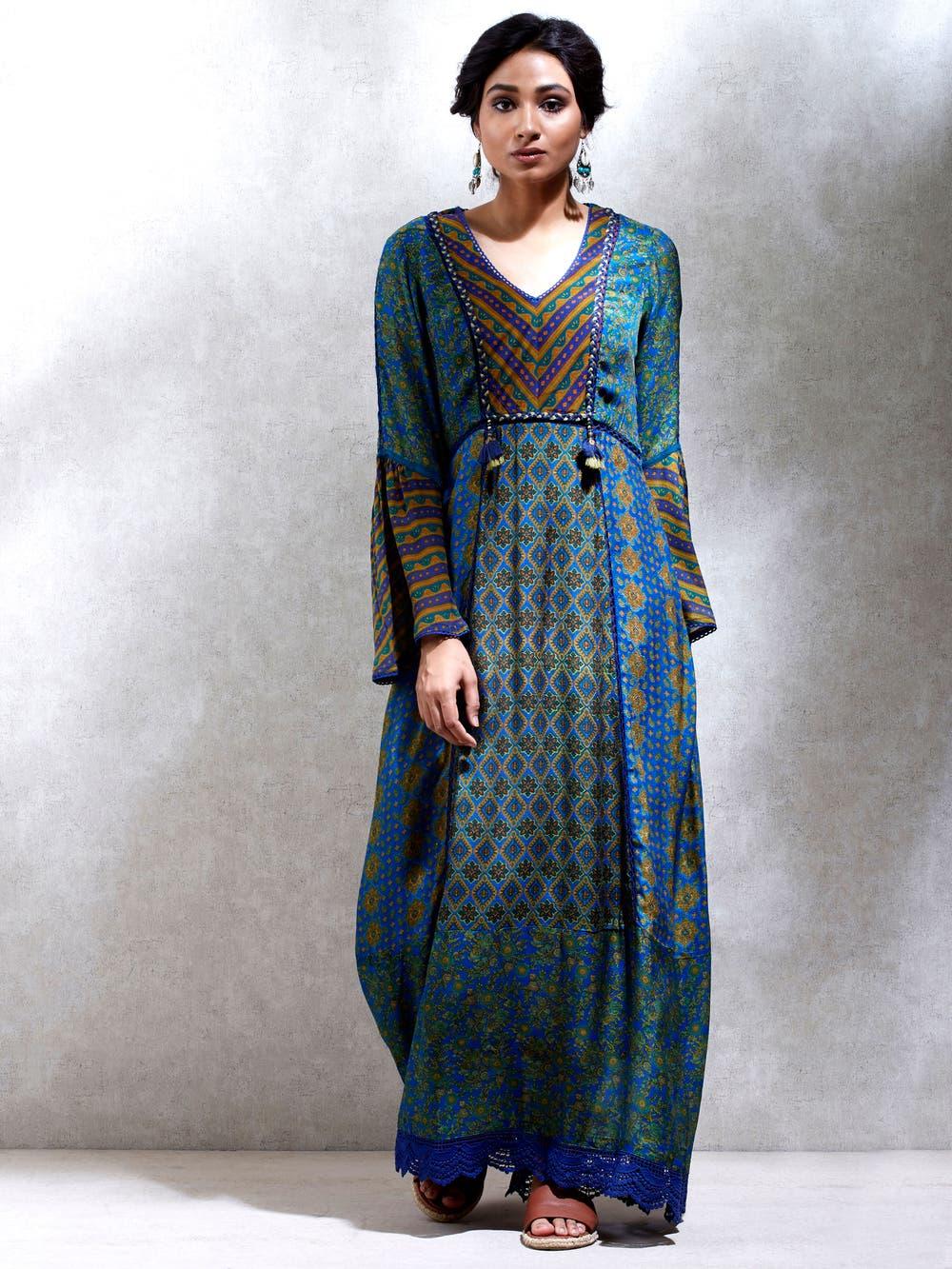 Jade Green & Mustard Multi-Print Dress