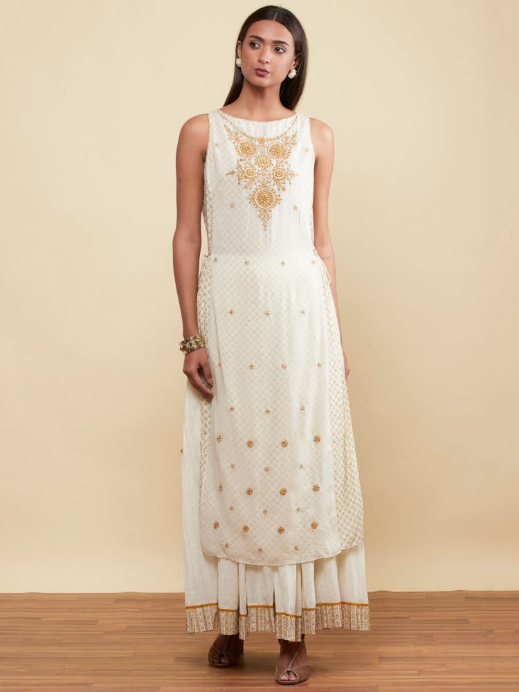 Ecru Embellished Kurta With Skirt