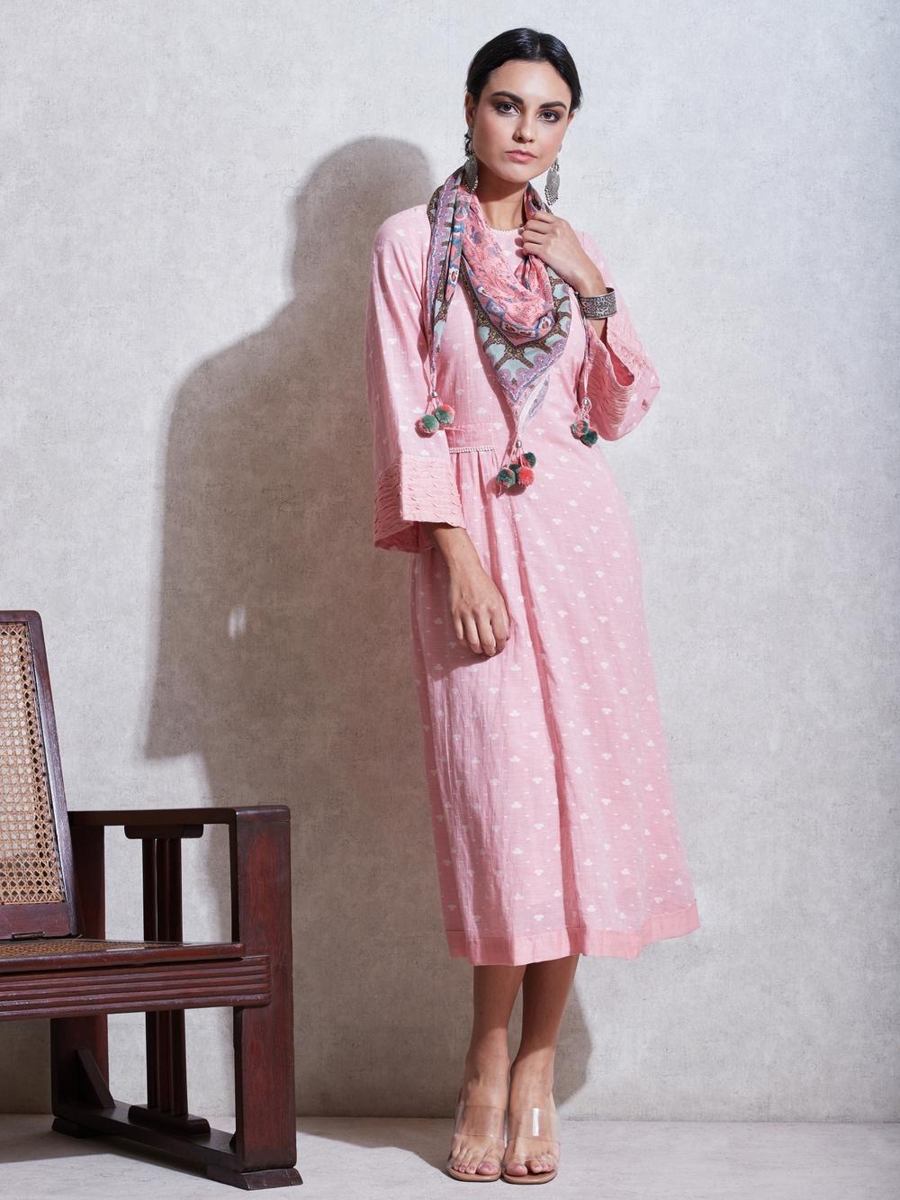 Blush Pink Self-Work Kurta with Stole