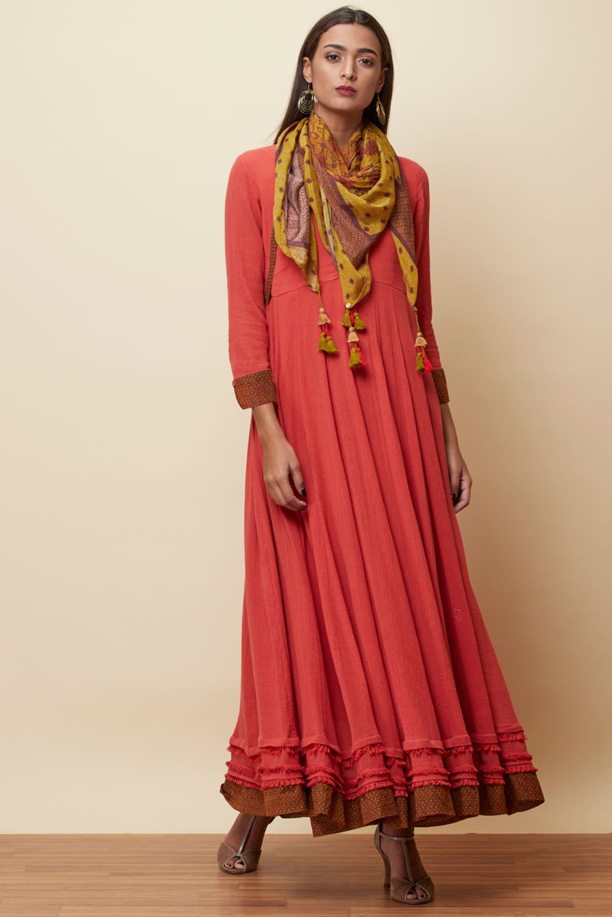 Rust Solid Anarkali With Scarf