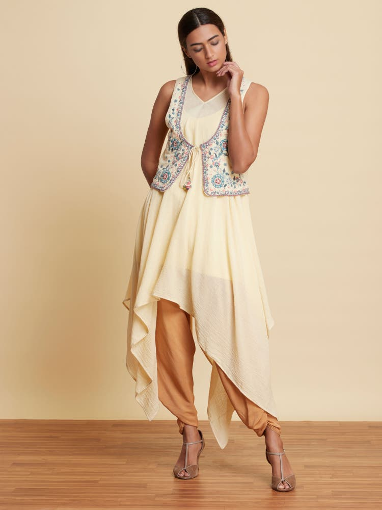 Ecru Asymmetric Kurta With Embroidered Corset