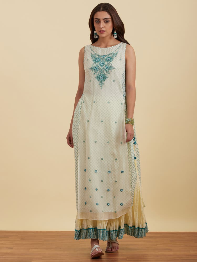 Teal Embellished Kurta With Skirt