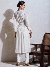 Ivory Embroidered Cotton Kurta with Trouser