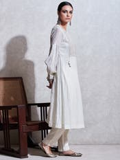 Ivory Embroidered Kurta with Trouser