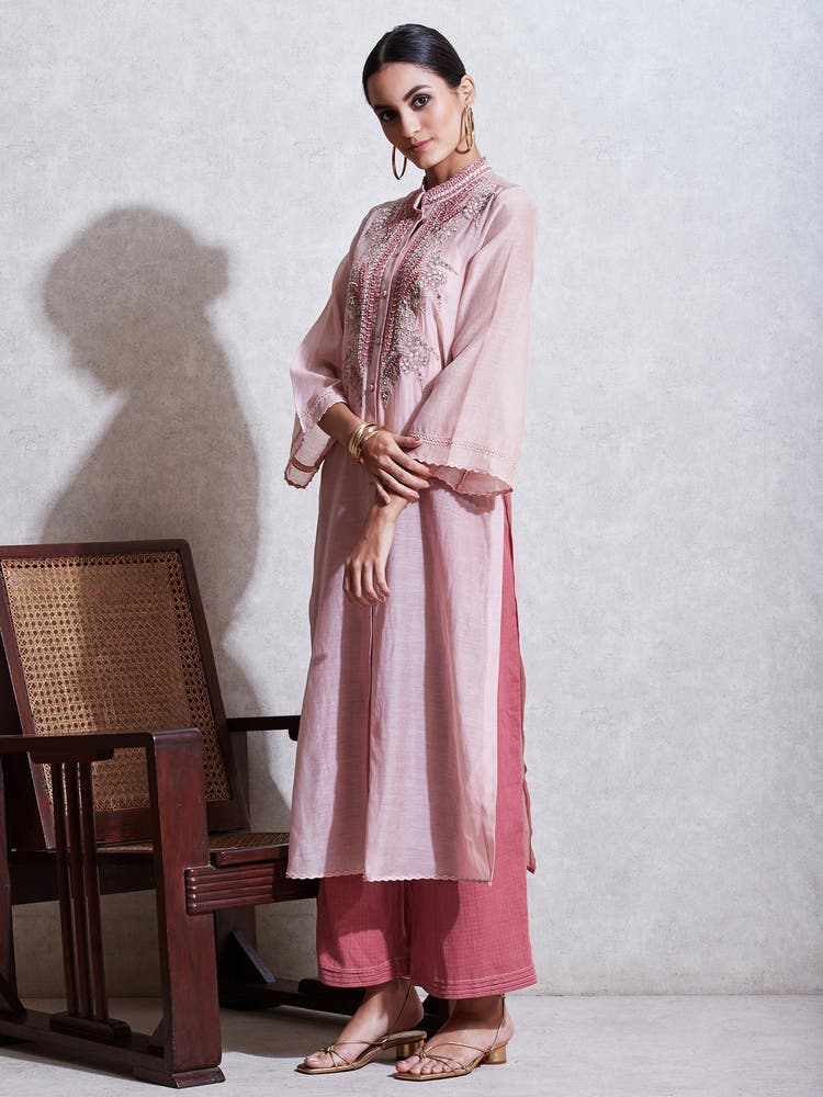 Blush Pink Embroidered Chanderi Kurta with Trouser