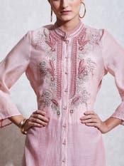 Blush Pink Embroidered Chanderi Kurta with Trouser