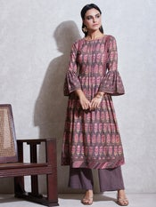 Brown Floral Print Kurta with Trousers