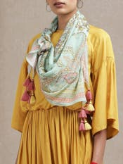 Mustard Cut-Out Dress with Printed Scarf