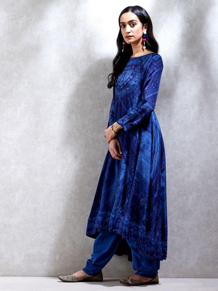 Indigo Blue Bandhej Print Kurta with Dhoti Pants