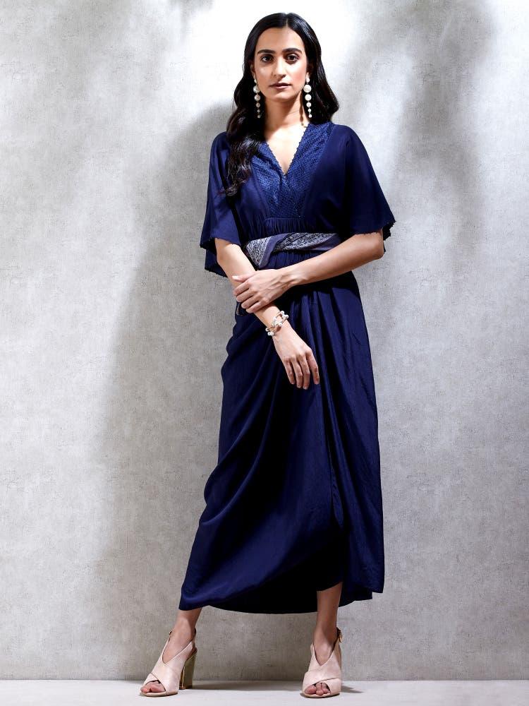 Midnight Blue Cowl Kurta Dress with Scarf