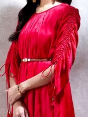 Vermilion Red Dress with Belt