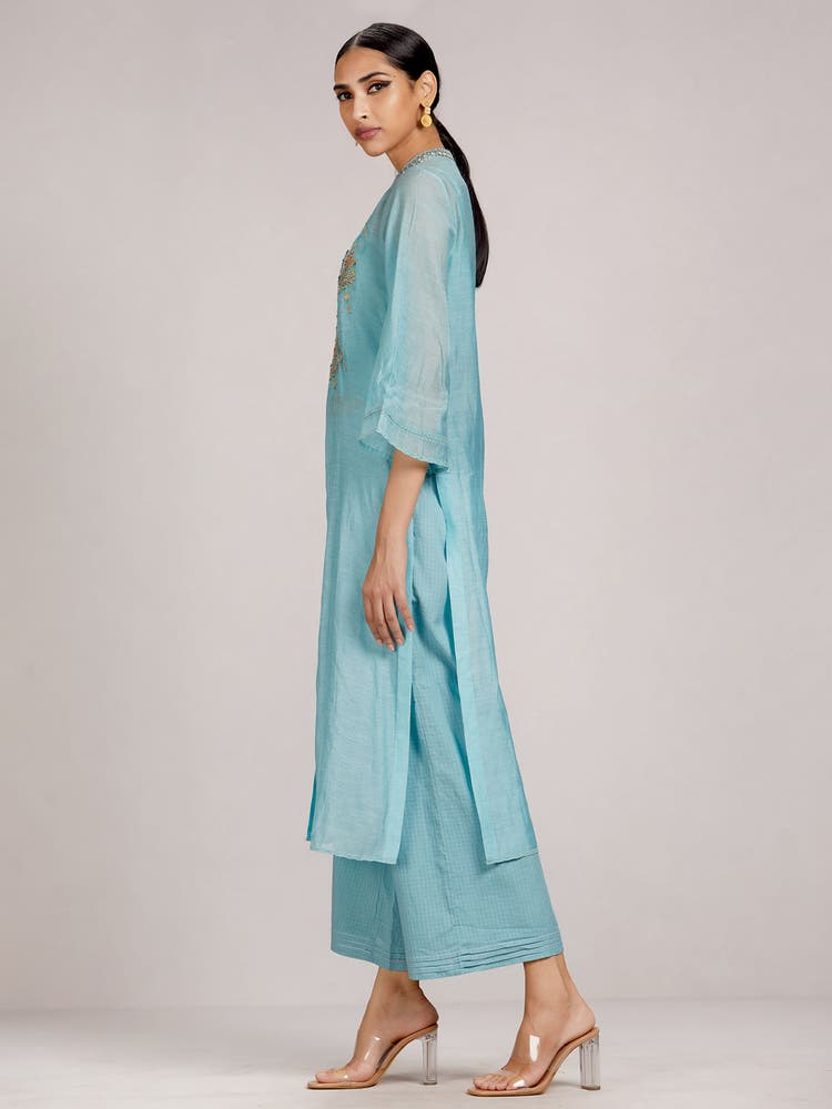 Powder Blue Embroidered Chanderi Kurta with Trouser