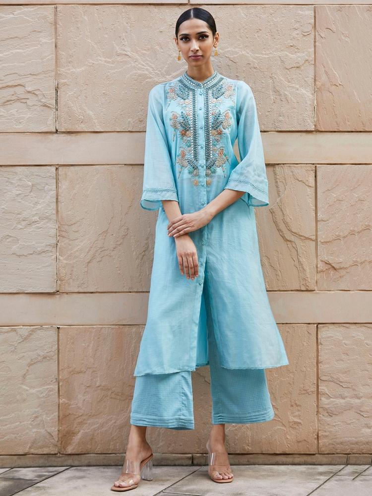 Powder Blue Embroidered Chanderi Kurta with Trouser