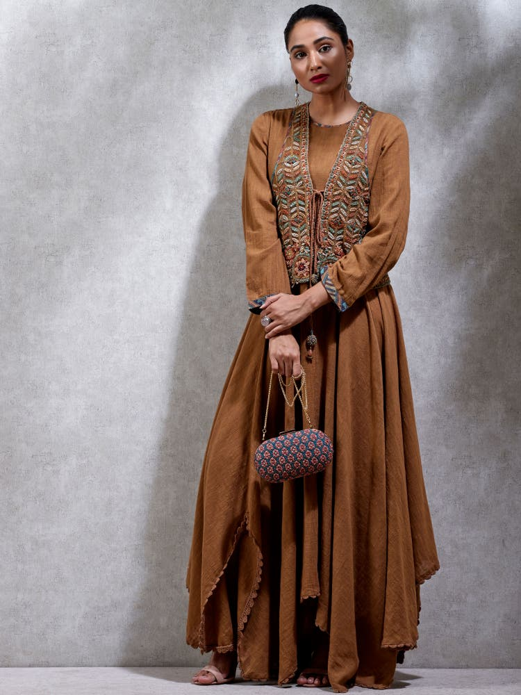 Brown Solid Kurta With Jacket