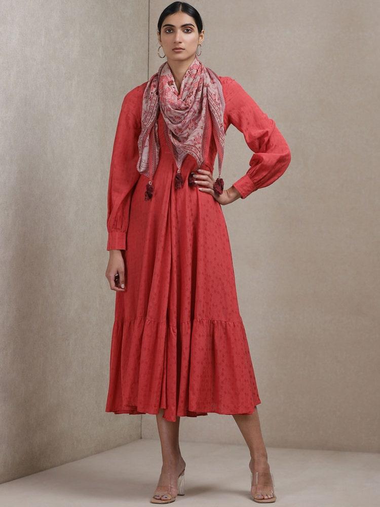 Rose Anarkali Kurta Dress With Scarf