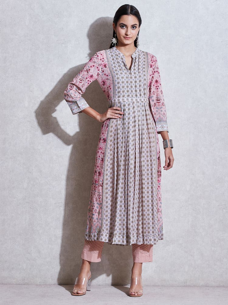 Pink Floral Kurta With Trousers