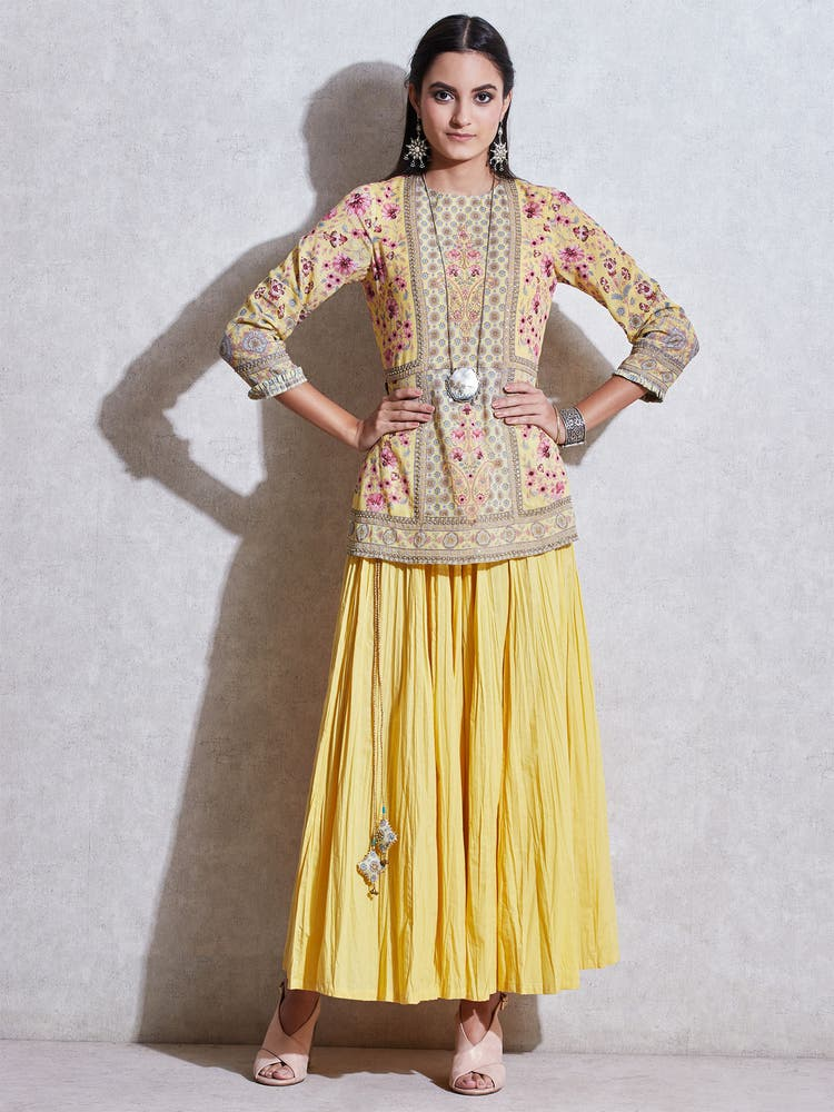 Yellow Floral Kurti With Trousers