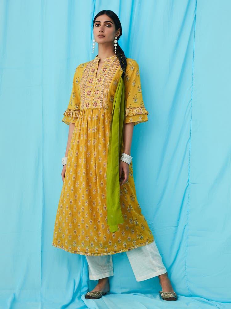Yellow Printed Kurta Set