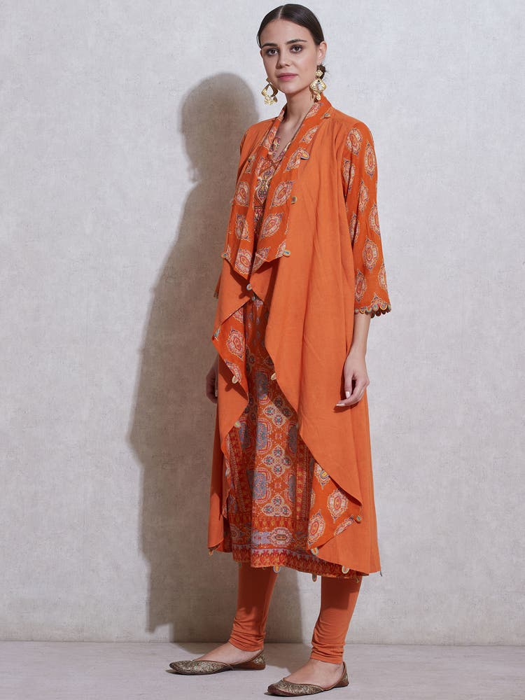 Orange Geometric Printed Suit Set