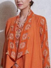 Orange Geometric Printed Suit Set