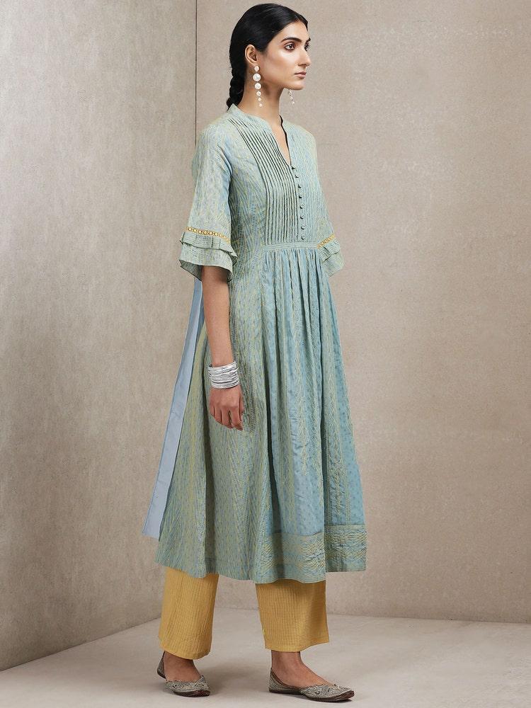 Turquoise Embroidered Kurta Set