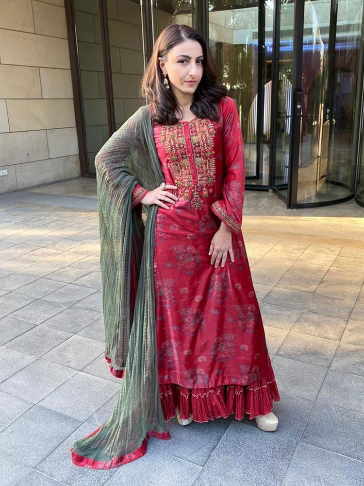 Soha Ali Khan in a Red Embroidered Velvet Suit Set