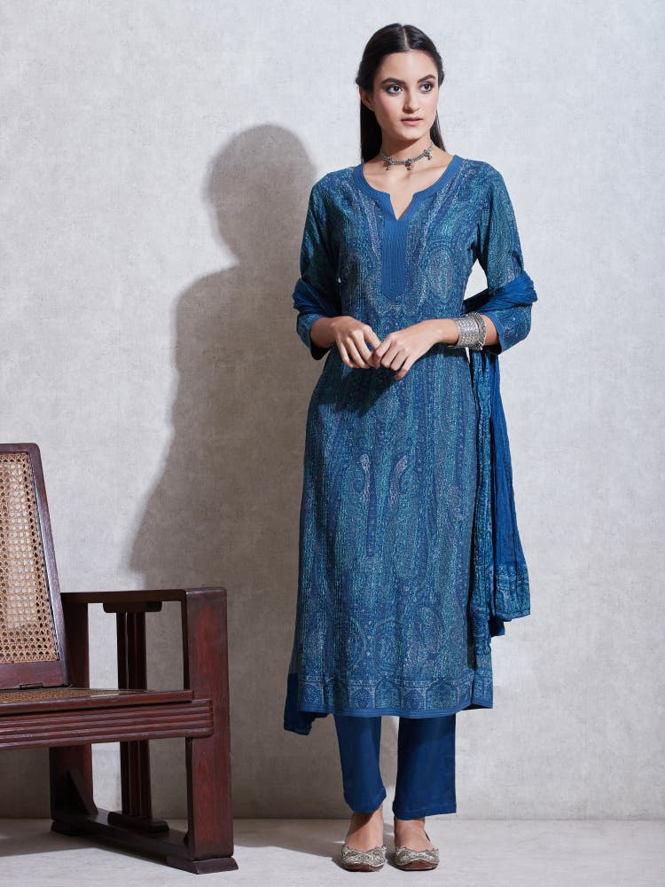 Blue & Aqua Jamawar Print Suit Set