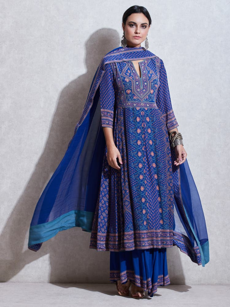 Blue & Pink Printed Anarkali Suit Set
