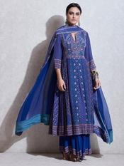 Blue & Pink Floral Print Suit Set