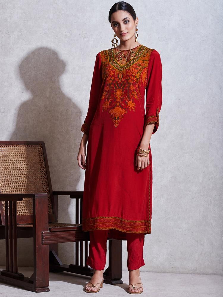 Red & Emerald Floral Print Suit Set