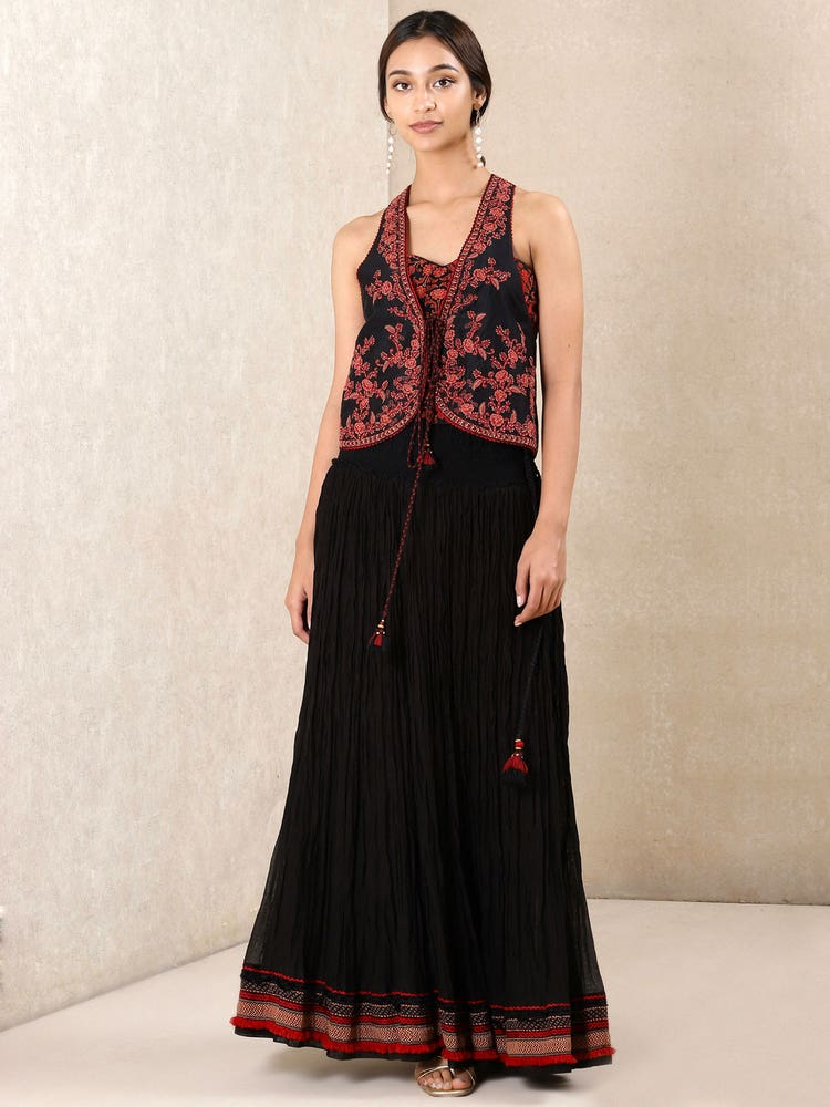 Black & Red Embroidered Ensemble