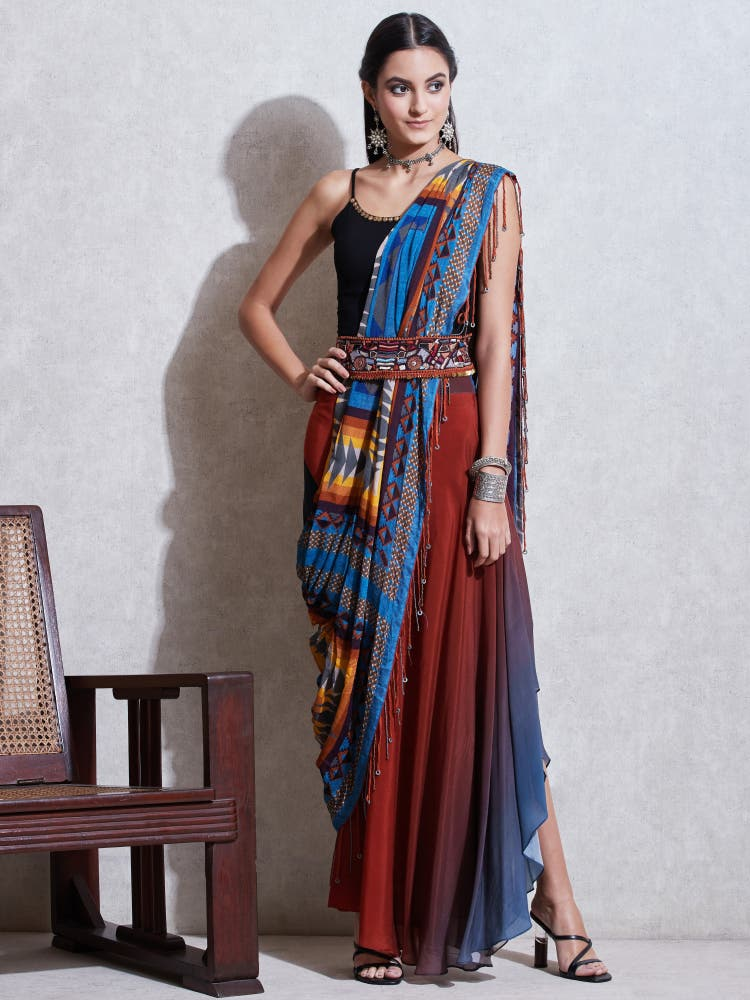 Blue Geometric Print Pre-Draped Saree
