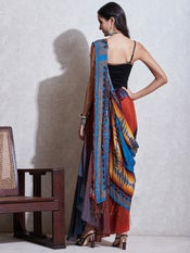 Blue Geometric Print Pre-Draped Saree