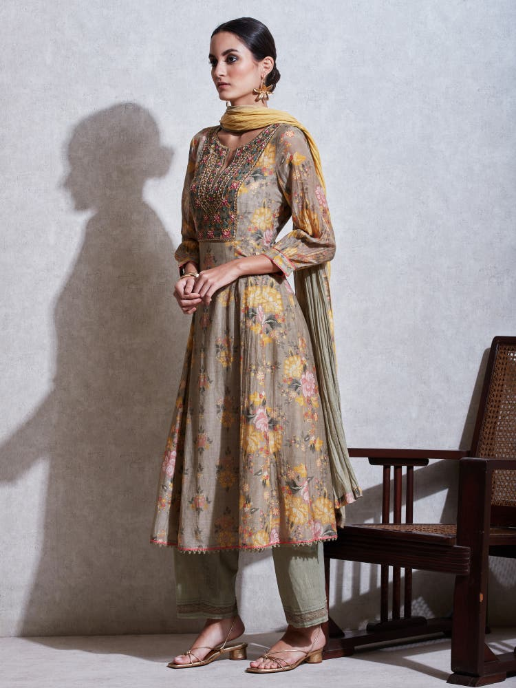 Olive Green Floral Print Chanderi Suit Set