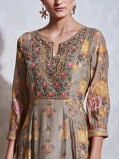 Olive Green Floral Print Chanderi Suit Set