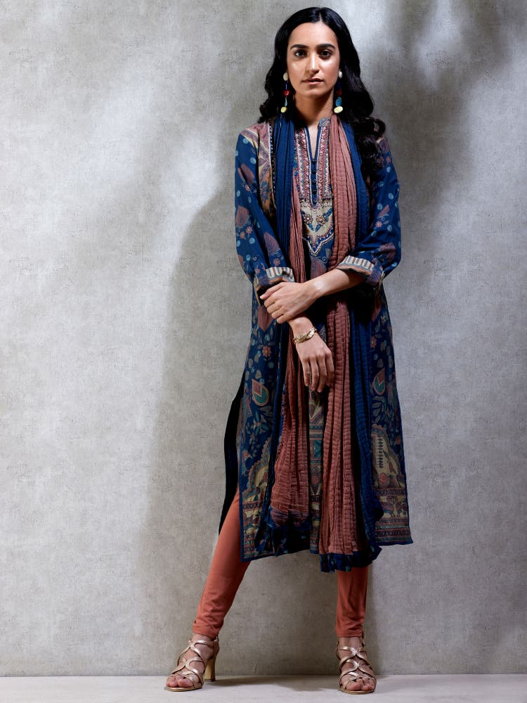 Navy Blue Embroidered Chanderi Suit Set