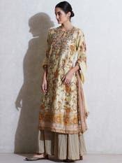 Ecru Floral Print Suit Set