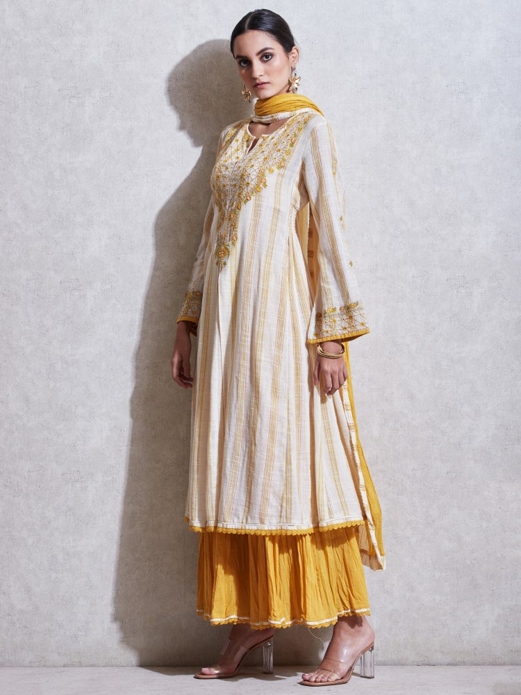 Ecru Embroidered Cotton Suit Set