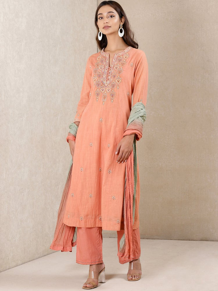Coral Embroidered Cotton Suit Set