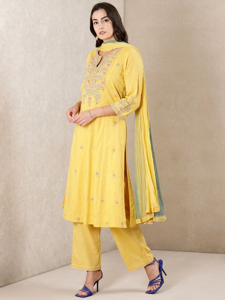 Yellow Embroidered Cotton Suit Set