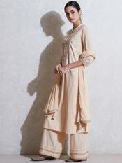 Beige Embroidered Suit Set