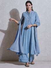 Powder Blue Embroidered Suit Set
