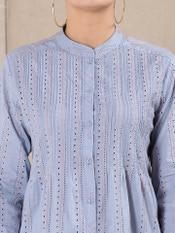 Blue Schiffly Cotton Suit Set