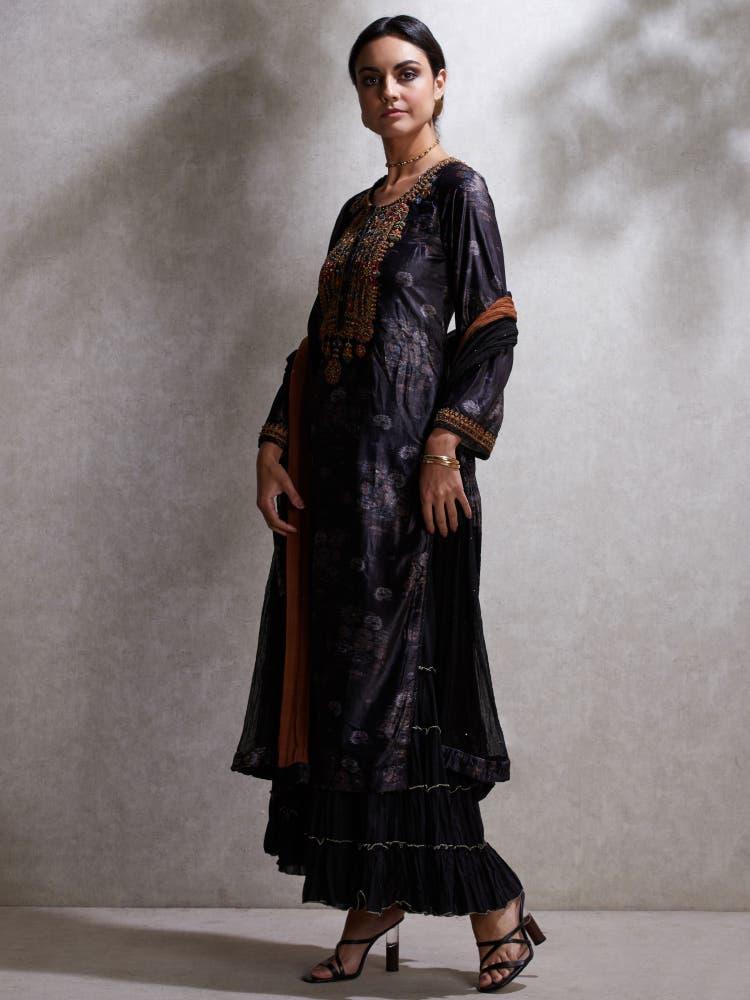 Black Embroidered Velvet Suit Set